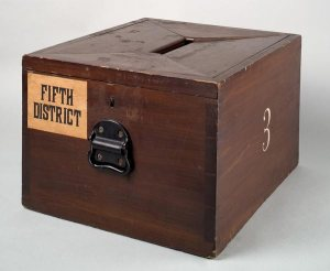 http://commons.wikimedia.org/wiki/File%3AWooden_ballot_box_-_Smithsonian.jpg
